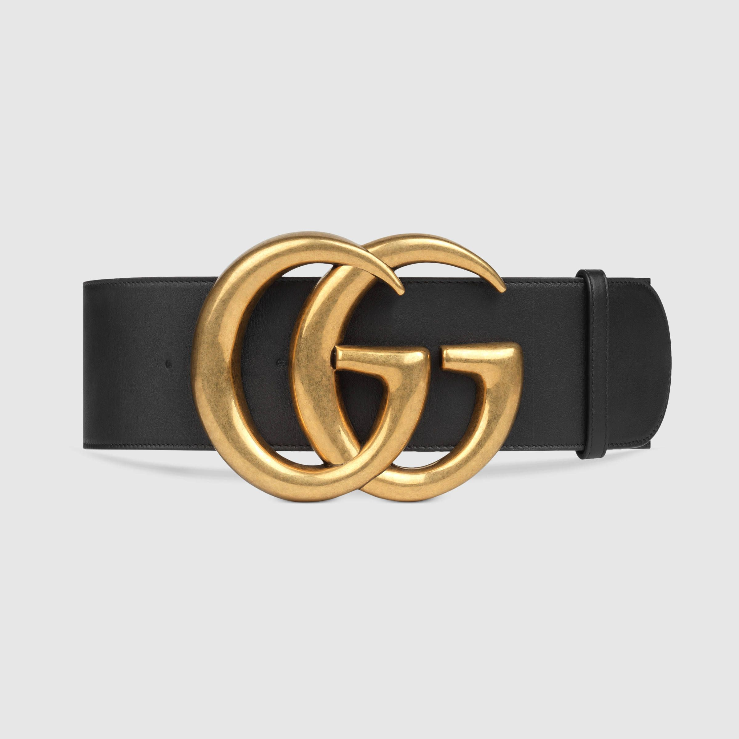 66130ad8cfe Wide leather belt with Double G
