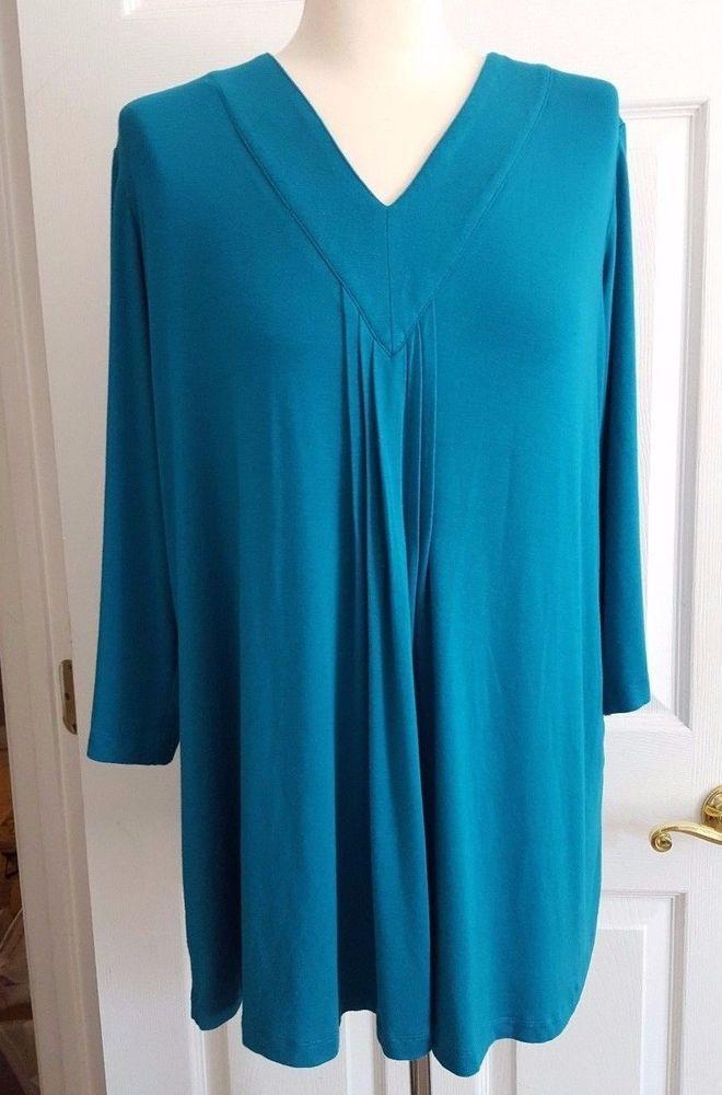 Susan Graver 1X Tunic Knit Top Turquoise Blue V Neck Long Sleeve 1098 #SusanGraver #Tunic