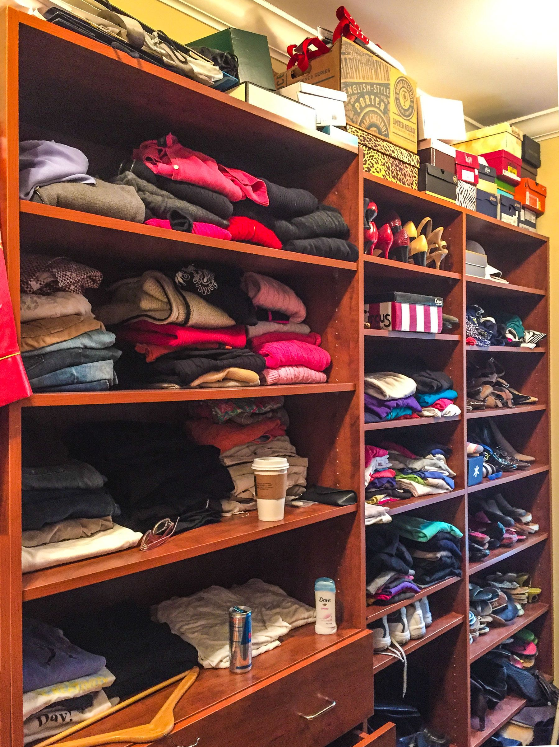 This Is The Left Side Of Closet Before Decluttering Client Had Piles