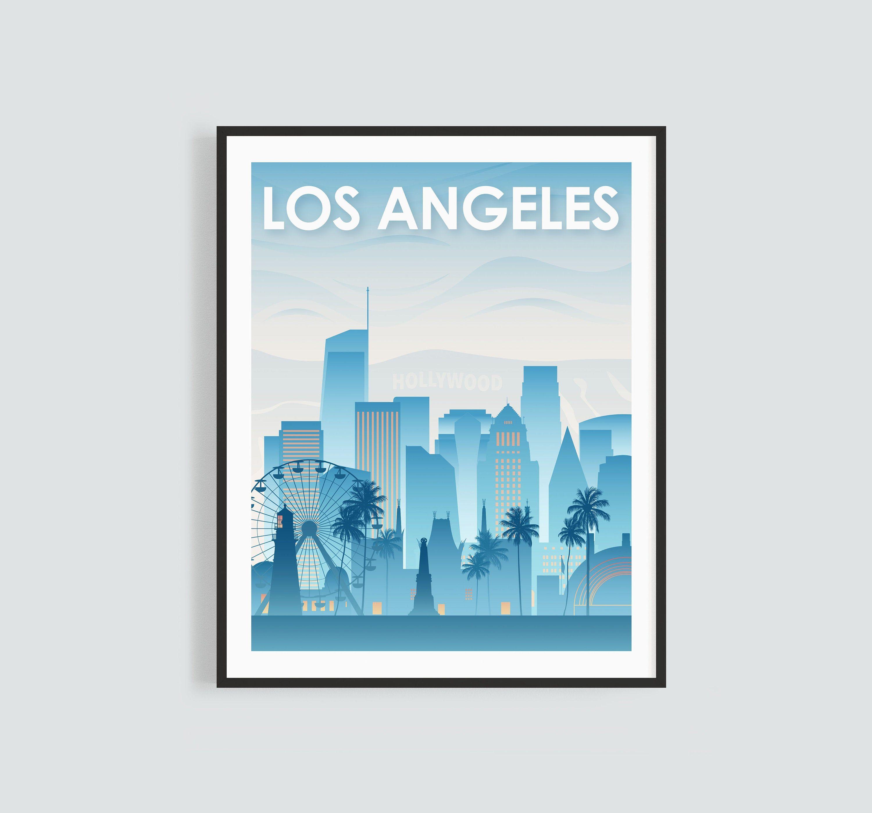 Los Angeles Skyline Printable Wall Art Blue Los Angeles Etsy Printable Wall Art Los Angeles Skyline Wall Printables