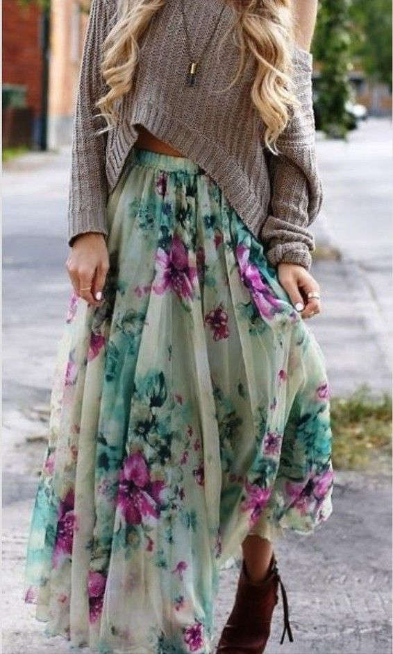 Floral maxi skirts.