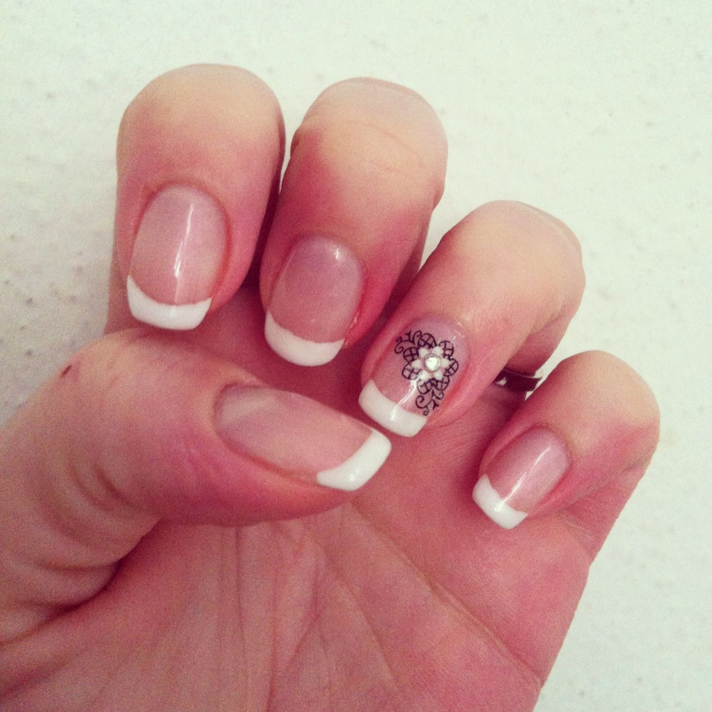 Shellac wedding nails with design on ring finger | Wedding day hair ...