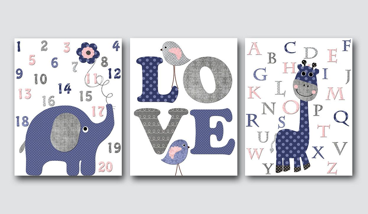 Navy Gray Pink Elephant Giraffe Alphabet Canvas Wall Art Baby Nursery Decor Boy Room Print Set Of 3 By Artbynataera On