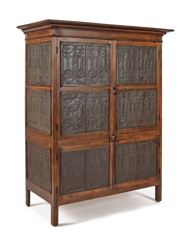 Virginia Hard Pine Pie Safe, 19th C., With Elaborately Punched Tin Panels Of