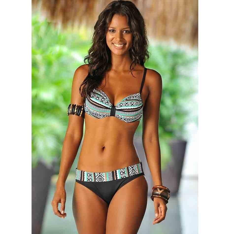 ac18242704f7 2018 New Sexy Bikini Women Swimsuit Push Up Swimwear Solid Bandage Halter  Bikini Set Beach Bathing Suit Swim Wear Biquini XXL