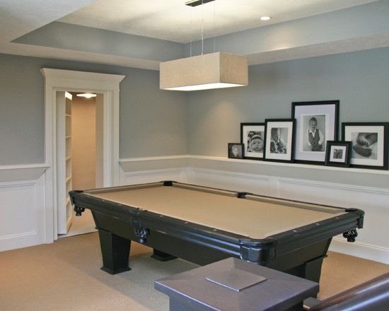 Traditional Basement Half Wall Idea Design Pictures Remodel Decor And Ideas Page 6 White Wainscoting Finishing Basement Basement Design