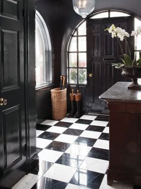 beautiful entry using black paint & great architecture