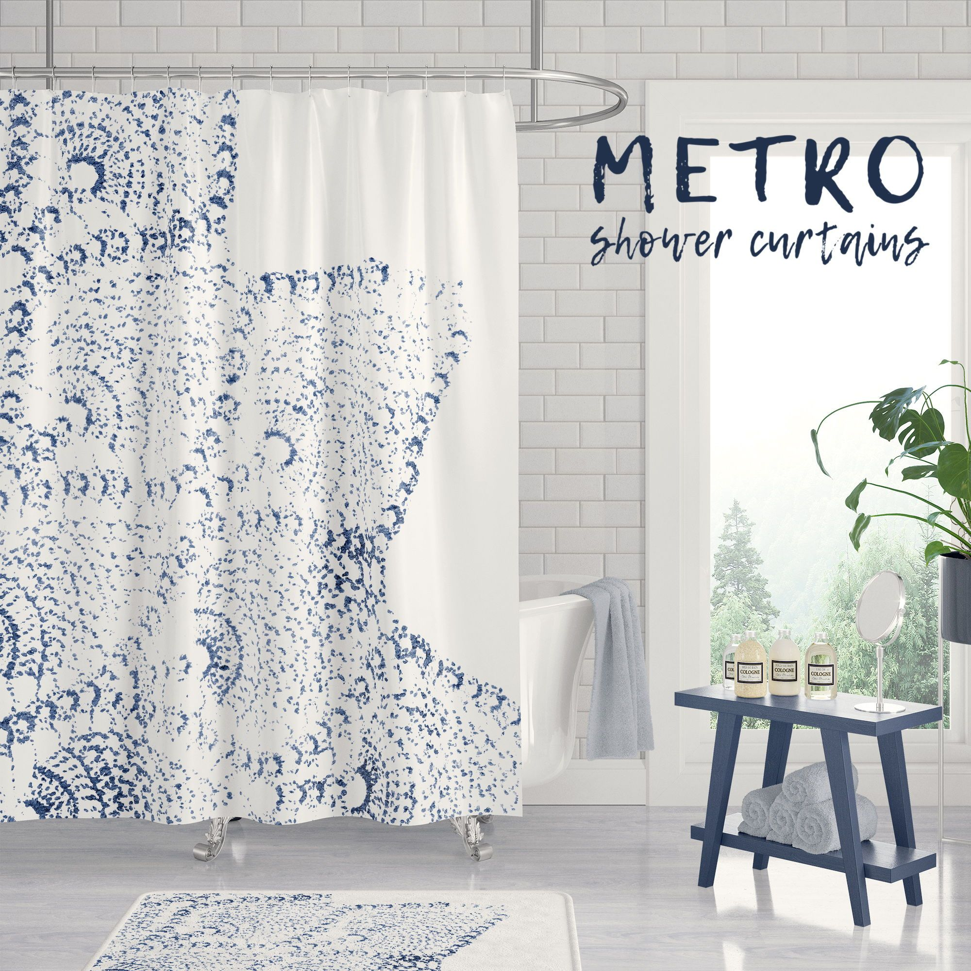 navy blue and white lace print shower