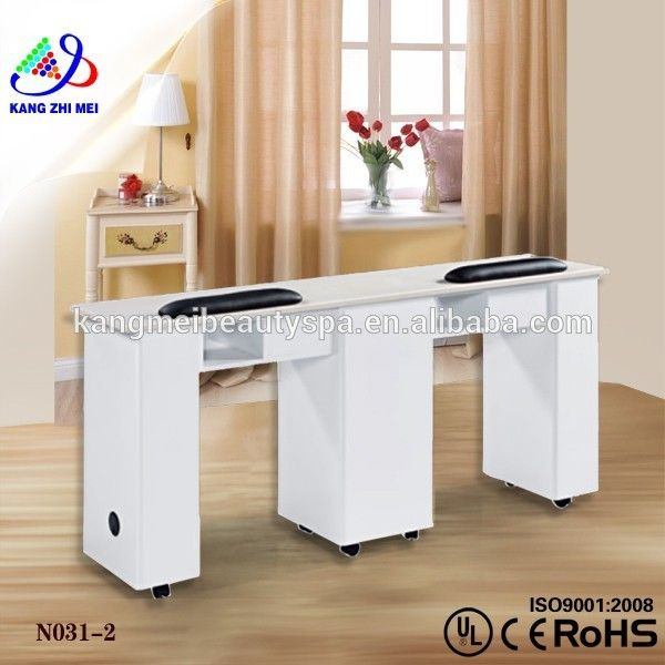 White Painting Color Double Nail Station Manicure Table For Nail ...