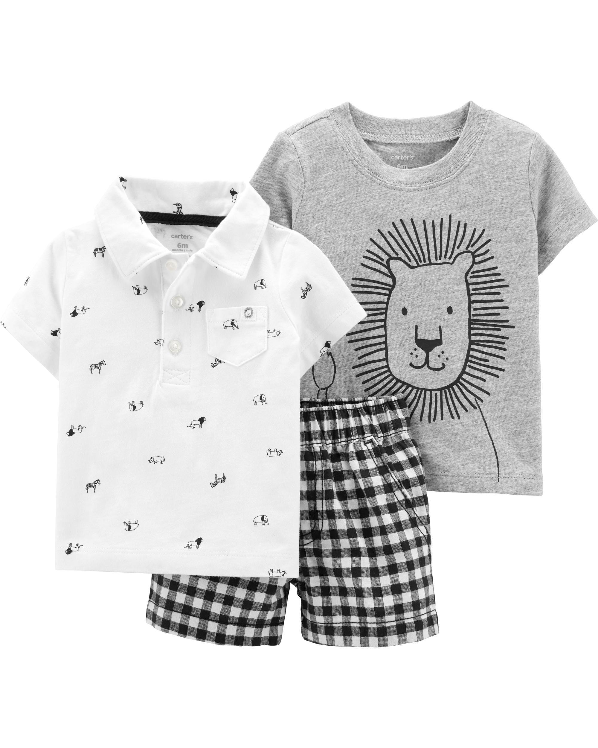 mejor sitio web comprar envío gratis 3-Piece Lion Little Short Set | ropa carters niños NB 3 ...