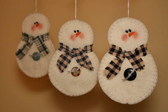 Snowman Christmas Ornaments Felt By Primitiveseason On Etsy Via
