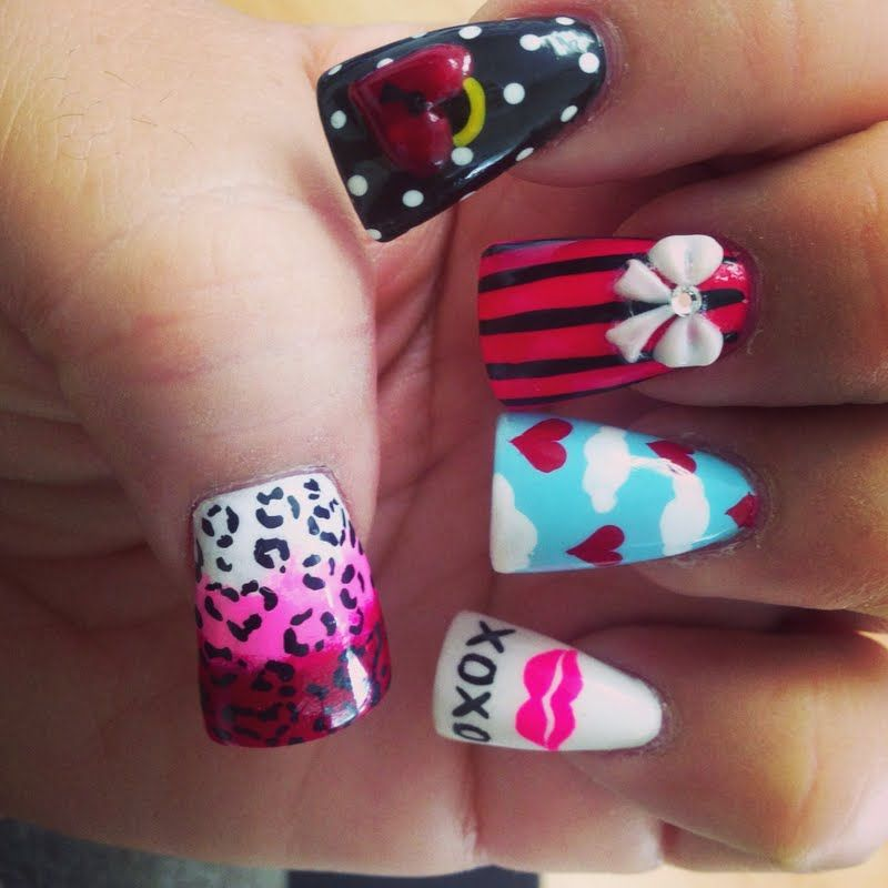 Have some fun with this 3D nail art! Every nail is different and ...