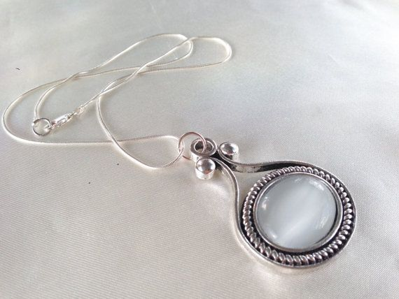 Angel's Eye White Moonglow and Silver Chain by ViomarJewellery