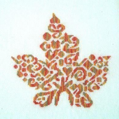 Tribal Maple Leaf Monochrome Cross Stitch - White Willow Stitching Cross Stitch - (Powered by CubeCart)