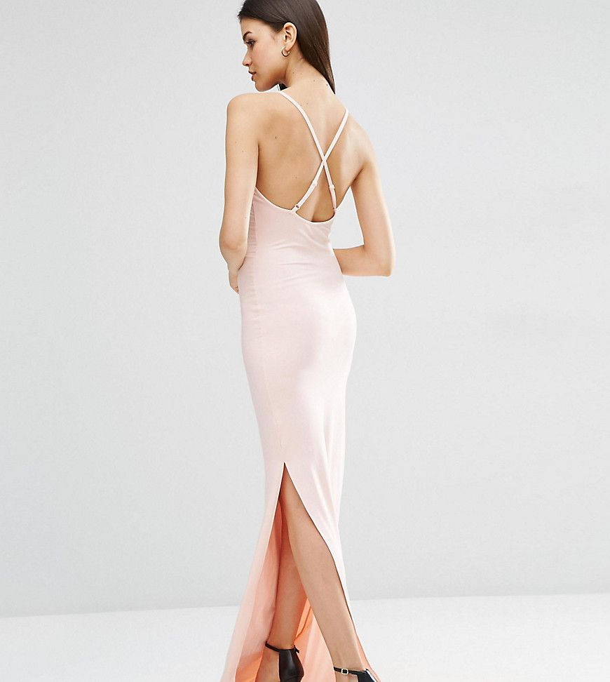 abfd0c55cc ASOS TALL Halter Strappy Back Maxi Dress - Pink