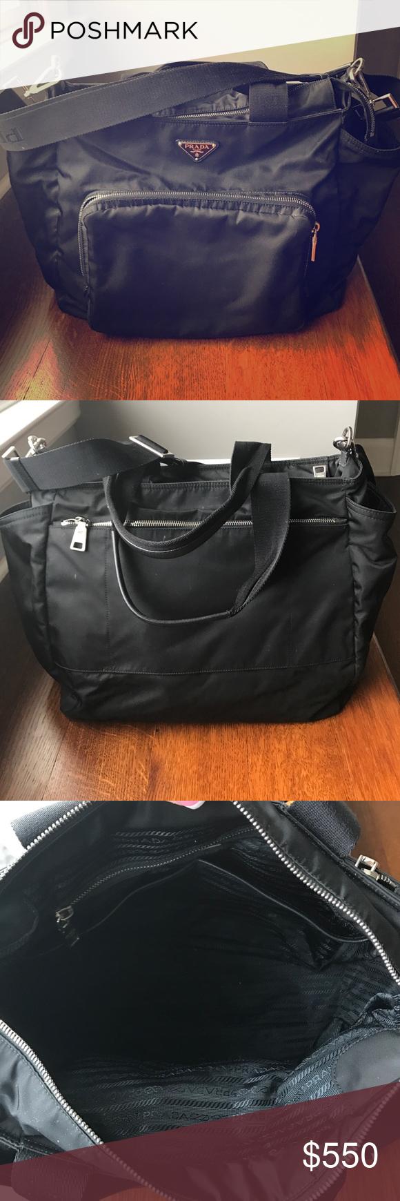 4dfda14b2300 AUTHENTIC Prada Veda Diaper bag!! Prada durable nylon baby bag with  silvertone hardware. Rolled top handles
