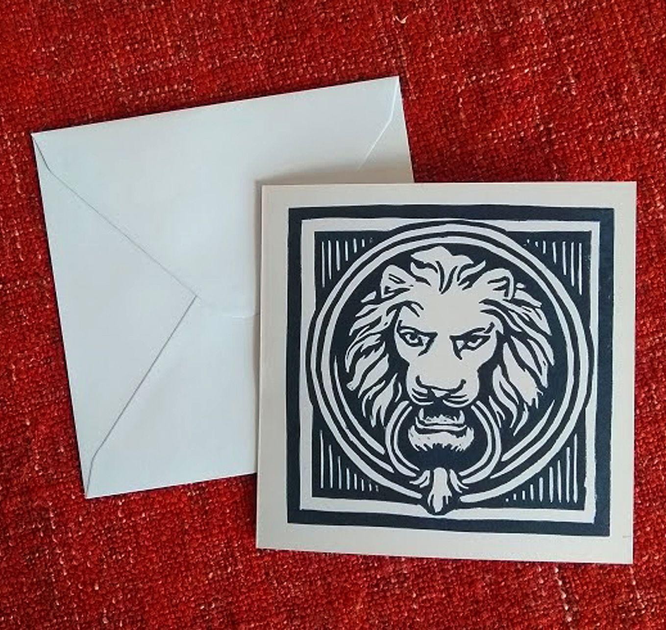 Lion head card doorknocker card birthday card animal card thank