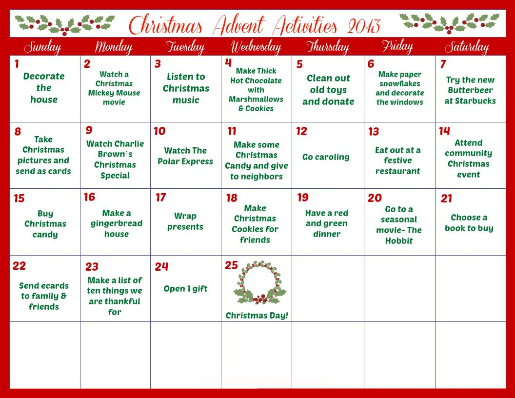 Kids Christmas Calendar Ideas : Print out this advent calendar daily activities and enjoy