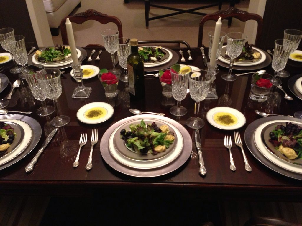 Italian Dinner Table Setting The Image