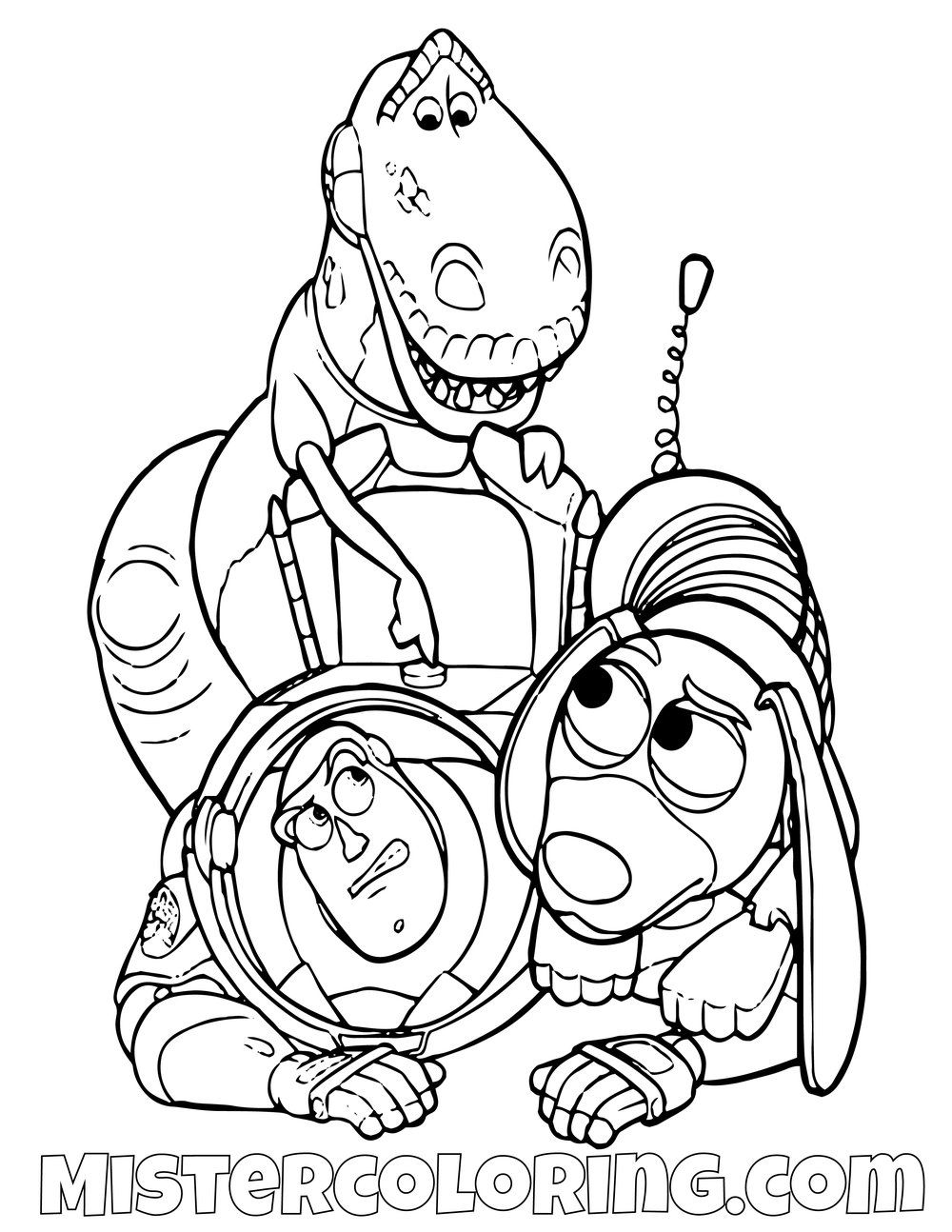 Rex And Slinky Dog Turning Buzz Lightyear Off Toy Story Coloring