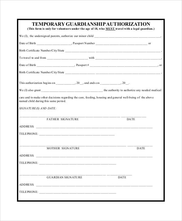 Sample Temporary Guardianship Form Examples Pdf Word Best Photos