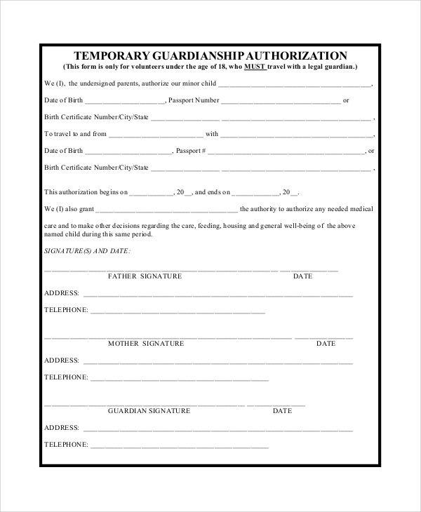 Temporary Guardianship Agreement Form Guardianship Legal