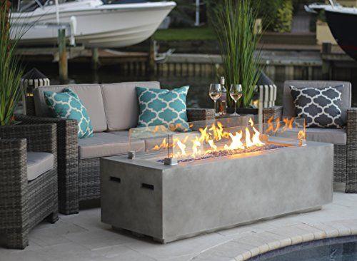 60 Quot Rectangular Modern Concrete Fire Pit Table W Glass G Https Www Amazon Com Dp
