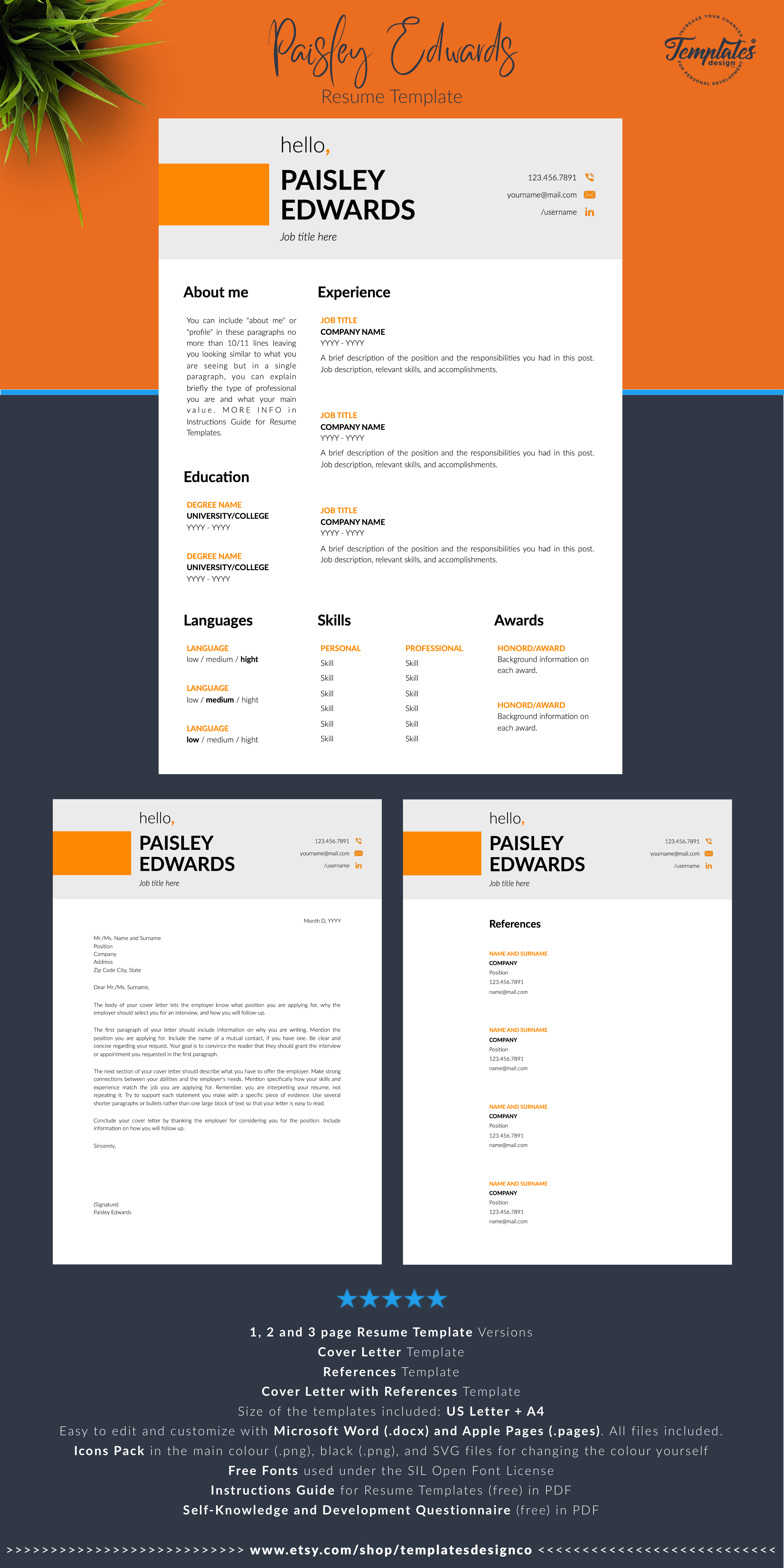 Modern Resume Template For Word Pages Clean And Basic Cv Etsy Resume Template Reference Letter Template Modern Resume Template