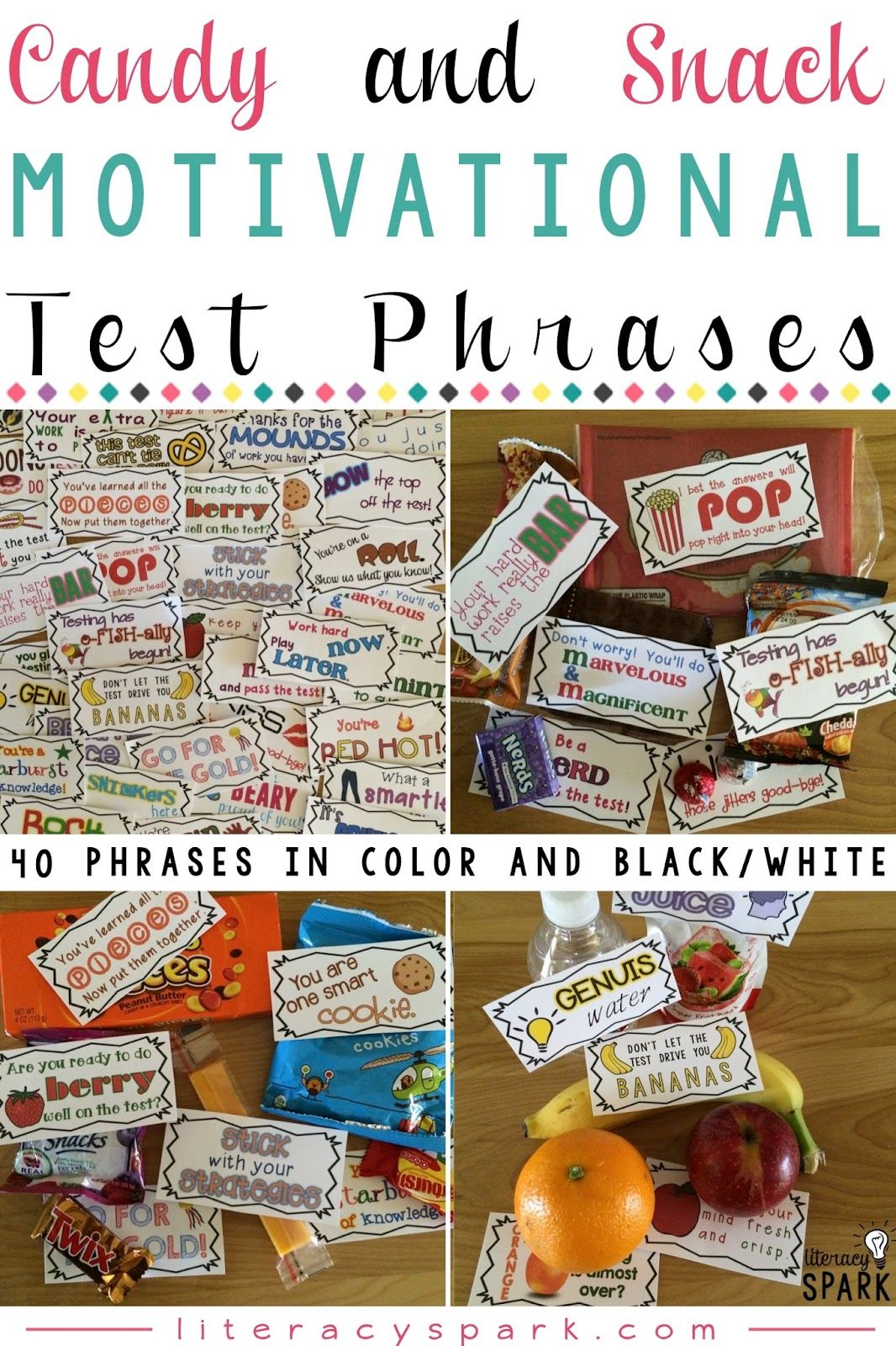 Candy & Snack Motivational Test Phrases | SCHOOL | Testing ...