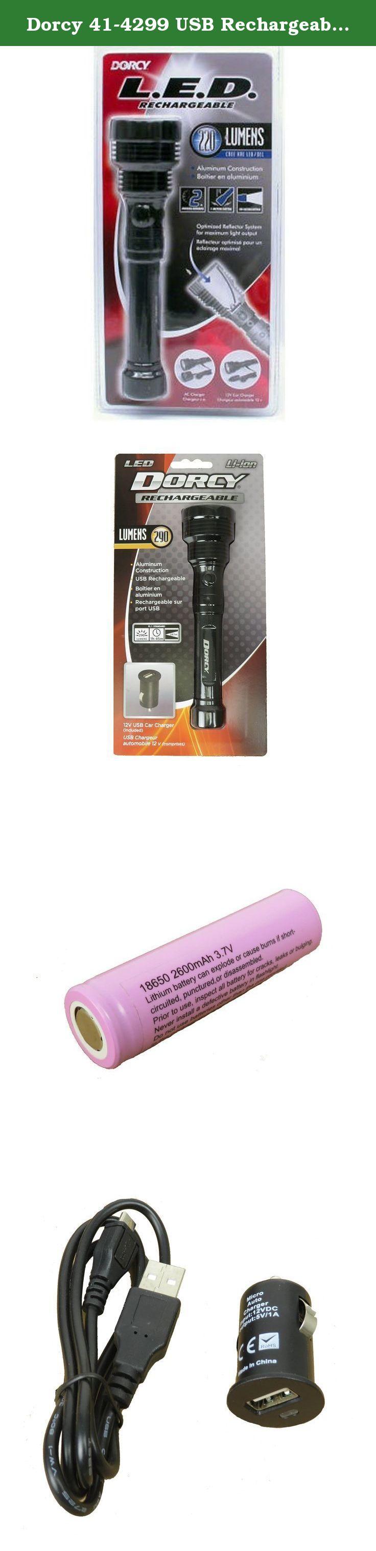 Dorcy 41-4299 USB Rechargeable Aluminm LED Flashlight wi