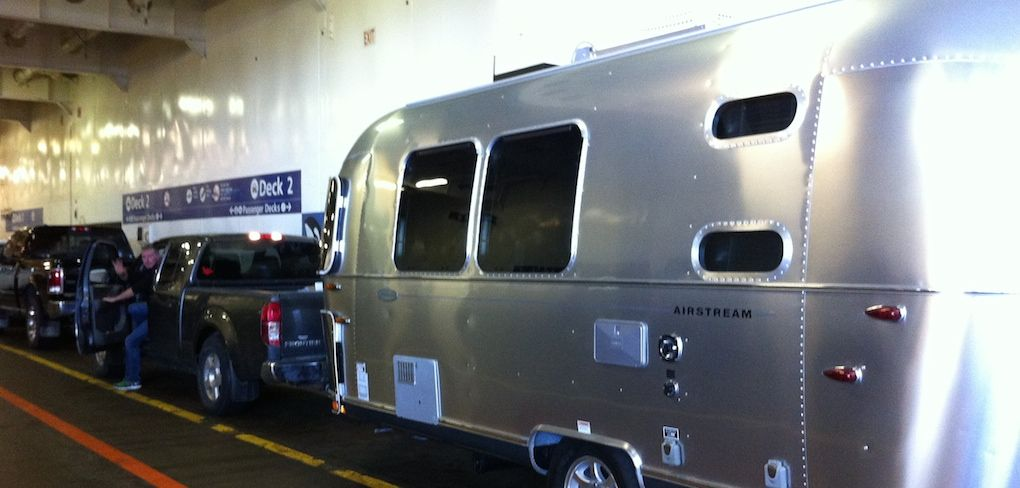 Duncan Nice has a steady hand at the wheel. Precious cargo - Ruby #Airstream. Bijou #Glamping. #BCFerry.