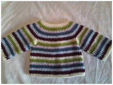 Jersey de bebe (chambrita) crochet #tutorial 1 - YouTube | tejido ...