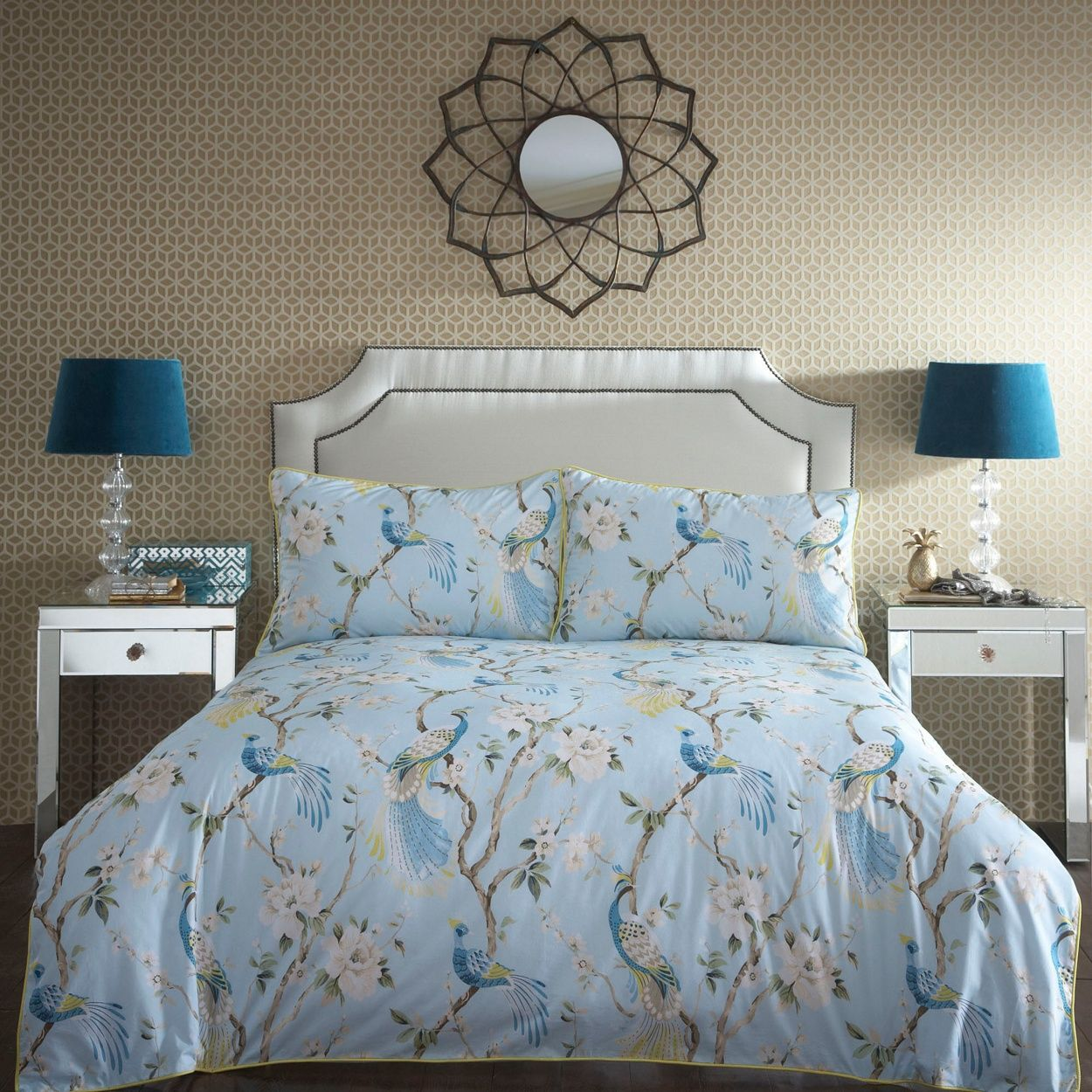 Home Collection Blue 'Paradise' floral bird pattern