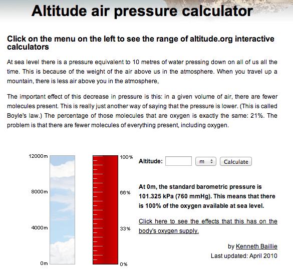 Altitude Air Pressure Calculator Httpwwwaltitudeorg - Above sea level calculator