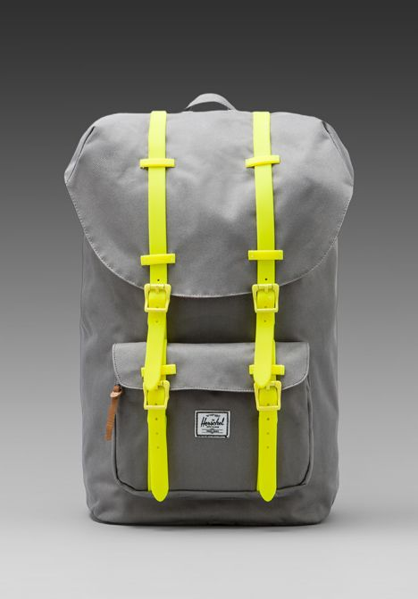 HERSCHEL SUPPLY CO. Weather Pack Little America in Grey/Yellow Rubber - New