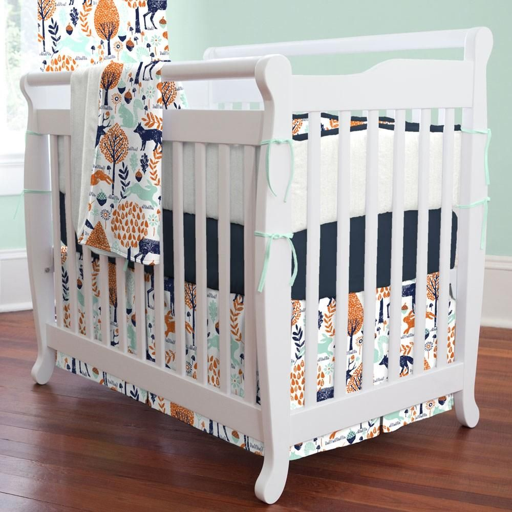 Navy And Orange Woodland Mini Crib Bedding By Carousel Designs