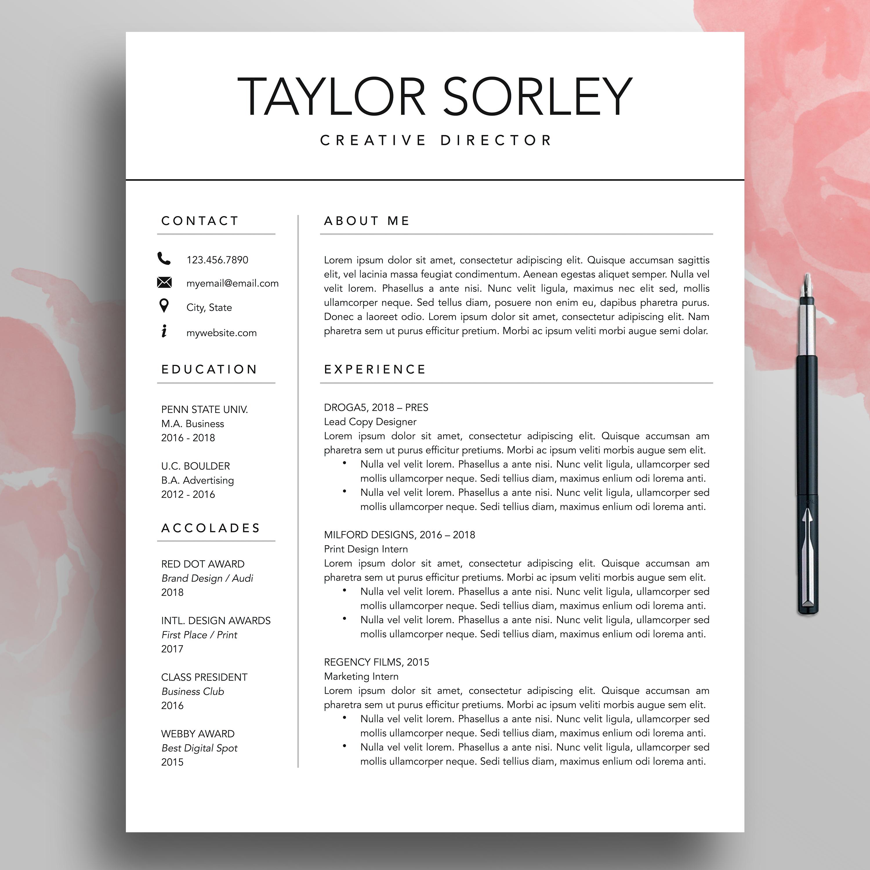 Modern Resume, CV Template, 3 Page, Minimalist Resume