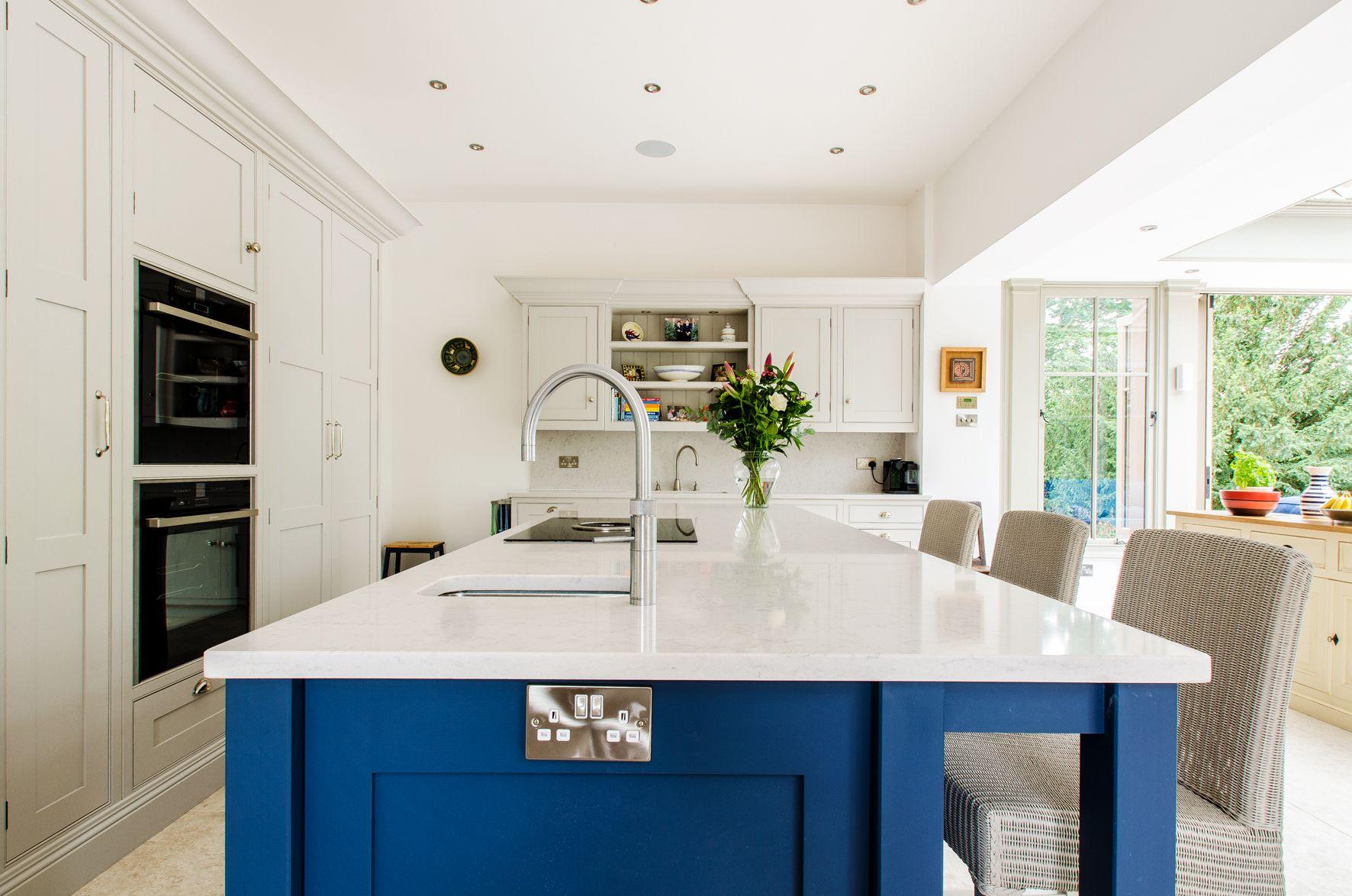 Blue and grey orangery kitchen in Canterbury | Canterbury Orangery ...