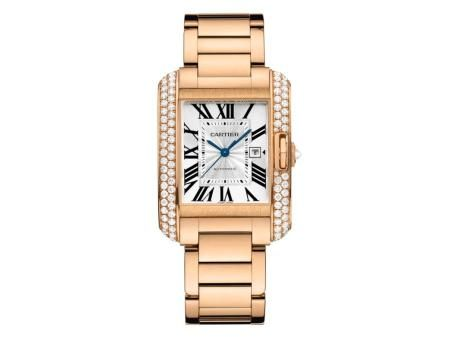 Check out this Cartier Tank Anglaise watch in pink gold with diamond accents!!