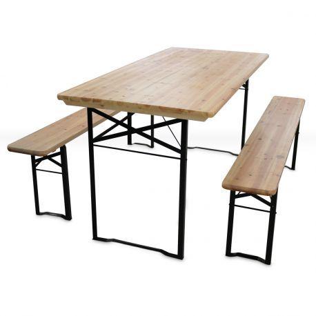 Set Brasserie Pas Cher Table Pliante En Bois Et 2 Bancs Pliables