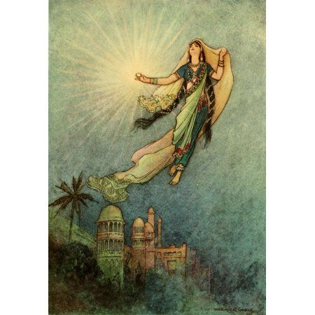 Folk Tales of Bengal 1912 She took up the jewel Canvas Art - Warwick Goble (18 x 24)