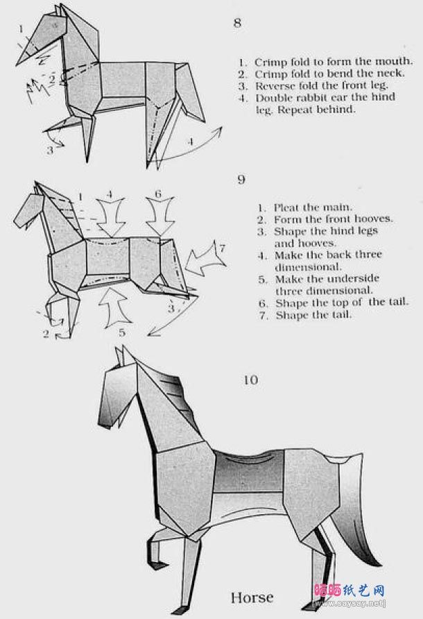 Origami Horse Instructions Origami Pinterest Origami Horse