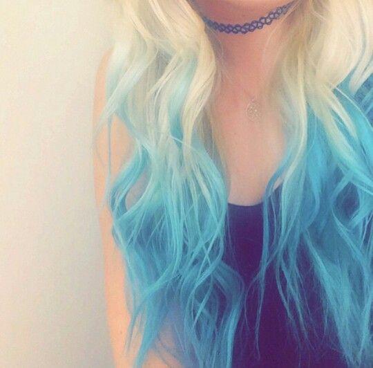 blonde hair with vibrant blue dip