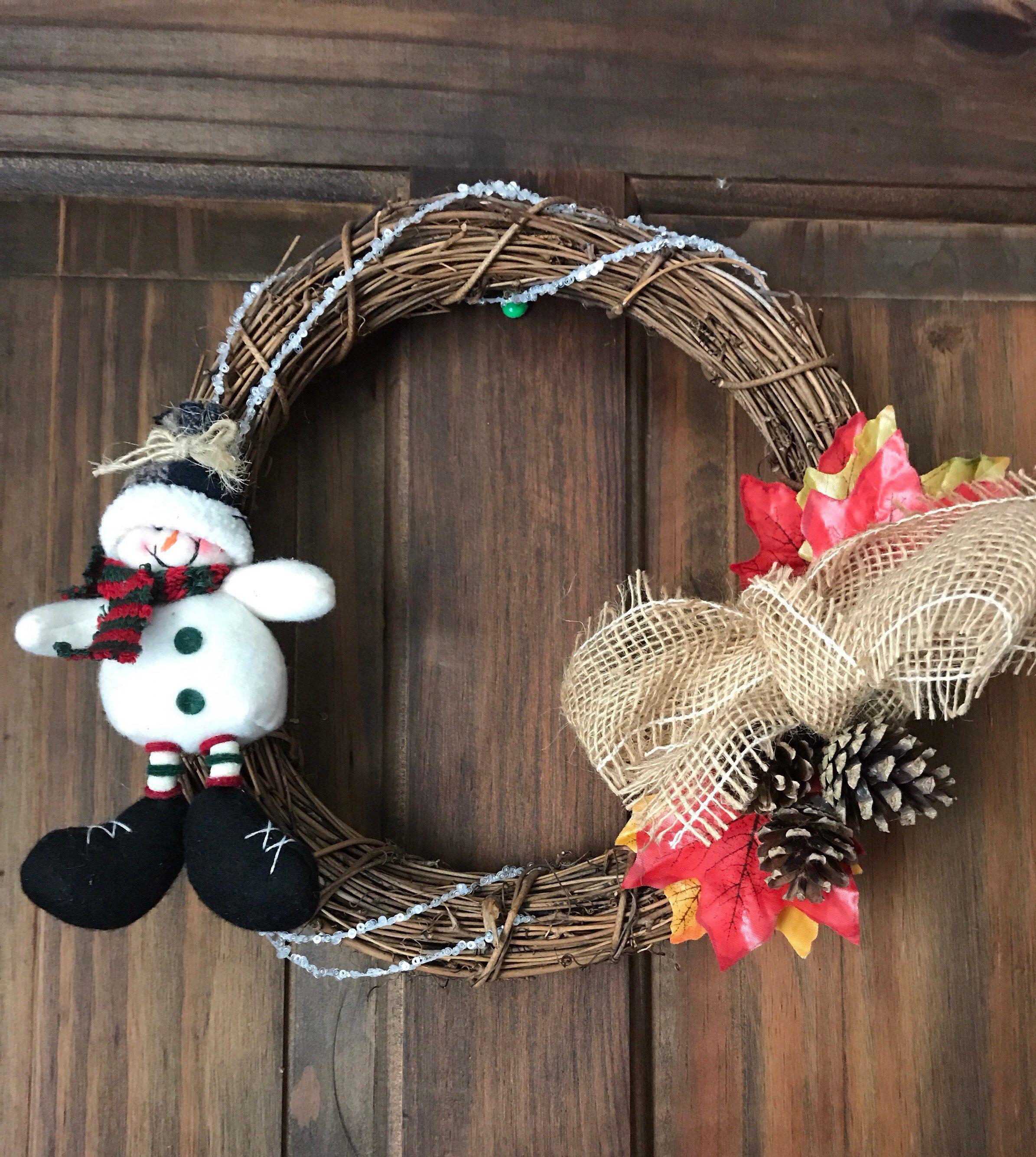 Cute Snowman Winter Christmas wreath, Door Hanger, Pine