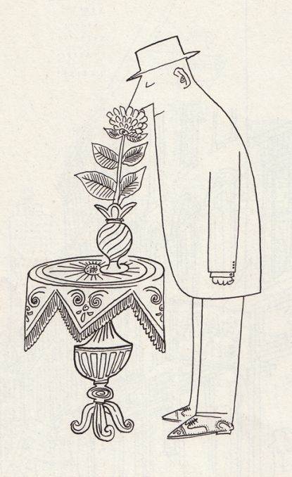 man sniffing flower, simple black & white sketch by Saul Stienberg (similar drawing style to Shel Silverstein)