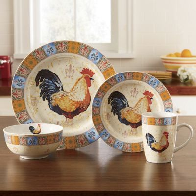 16-Piece French Country Rooster Dinnerware Set | French ...