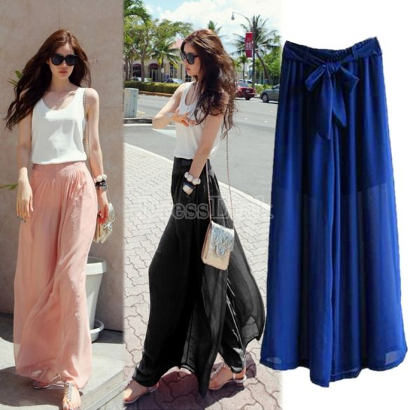 Loose Chiffon Pants Adorable And Cozy Chiffon Pants Maxi Skirt Boho Fashion