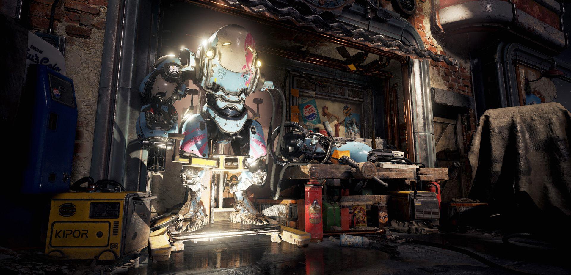 Artstation Fallout 4 Inspired Mech Garage Diorama Ben Keeling Mech Diorama Inspiration