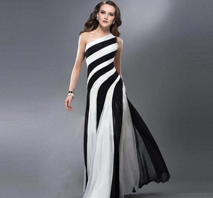 Exquisite Black White Contrast Color Chiffon Evening Dress