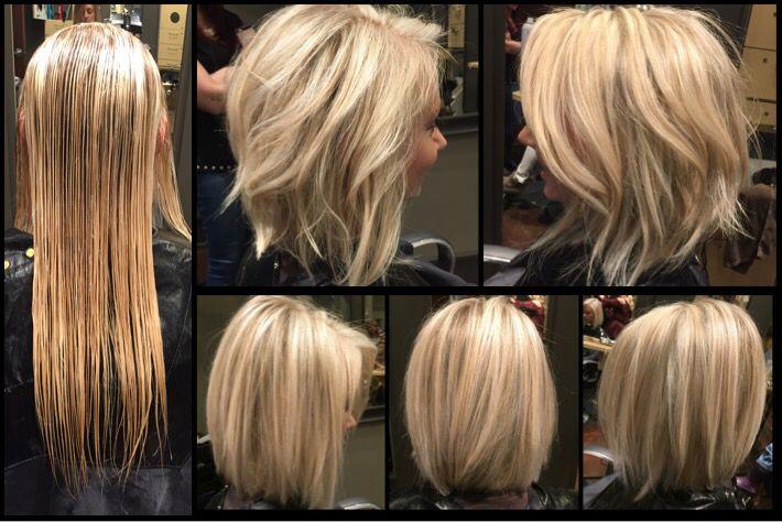 From Long To Short Shoulder Length With Blonde Highlights Haare Schulterlang Schneiden Haare Schneiden Frisuren